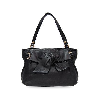 ribbon detail tote bag black